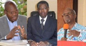 Bamwe mu bagize Urubuga Ngishwanama rw'inararibonye ruzajya rutanga umurongo ku miyoborere y'Igihugu. Uturutse ibumoso: Dr Iyamuremye, Polisi Denis na Antoine Mugesera