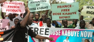 Protestors demonstrating against the arrest of Rwandan President Paul Kagame's aide, Rose Kabuye, in 2008. (Photo: AP)